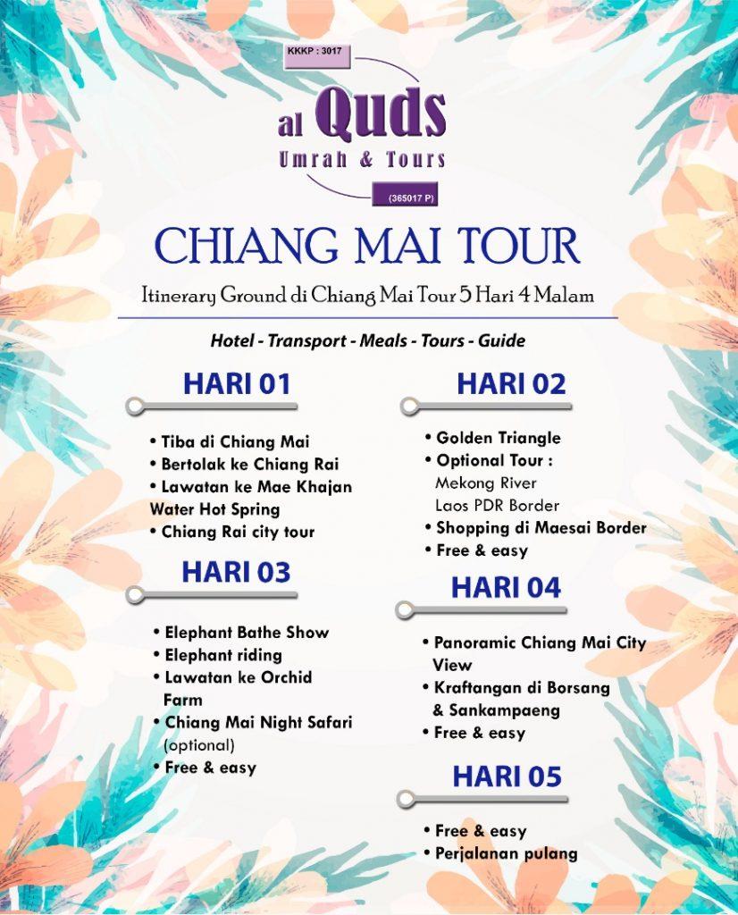ITINERARY CHIANG MAI CHIANG RAI